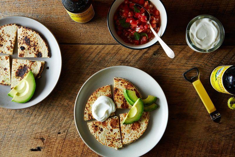 Feta Quesadillas with Fresh Pico de Gallo and Avocado
