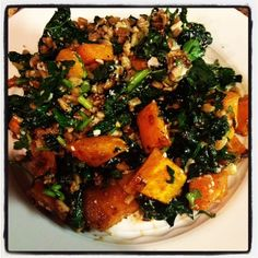 Kale and Farro Salad with Butternut Squash