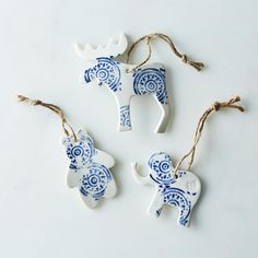 Large Ceramic Moose, Bear & Elephant Ornaments (Set of 3)