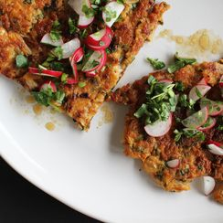Kimchi, Pork + Scallion Pancake with Watercress-Radish Relish