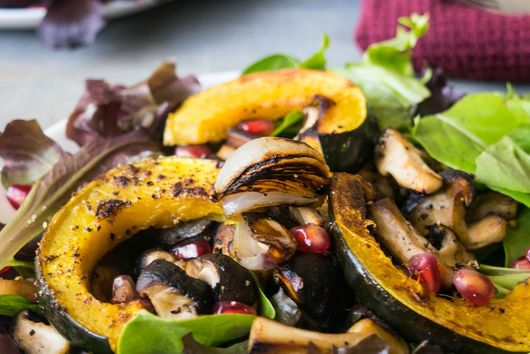 WARM MUSHROOM AND ACORN SQUASH SALAD