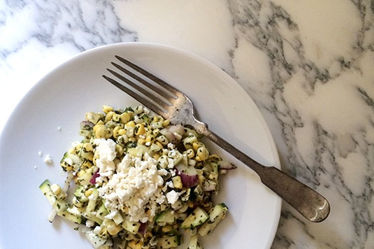 Raw Corn And Zucchini Salad with Thai Basil Pesto