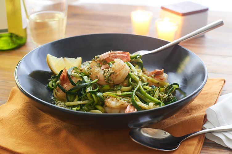 Zoodles with Pesto and Shrimp