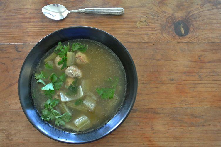 zuppa di cardone e polpettini di vitello