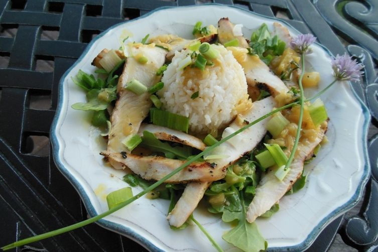 Grilled Pineapple Parsley Chicken with Basmati Rice & Baby Arugula