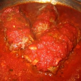 Braciole (bree-zshole)...Italian stuffed & rolled flank steak