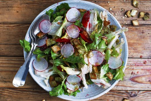 Escarole Salad With Za'atar Pita Crisps, Blood Oranges, Radishes, and Hazelnuts