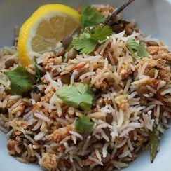Simple Mincemeat Biryani - Basmati rice dish