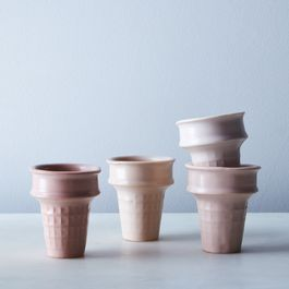 Blush Porcelain Ice Cream Cones (Set of 4)