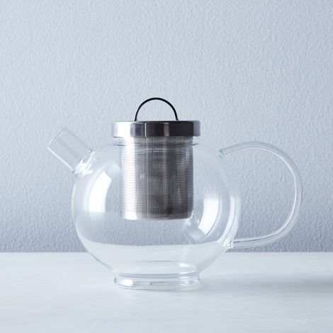 Round Glass Teapot with Steel Filter