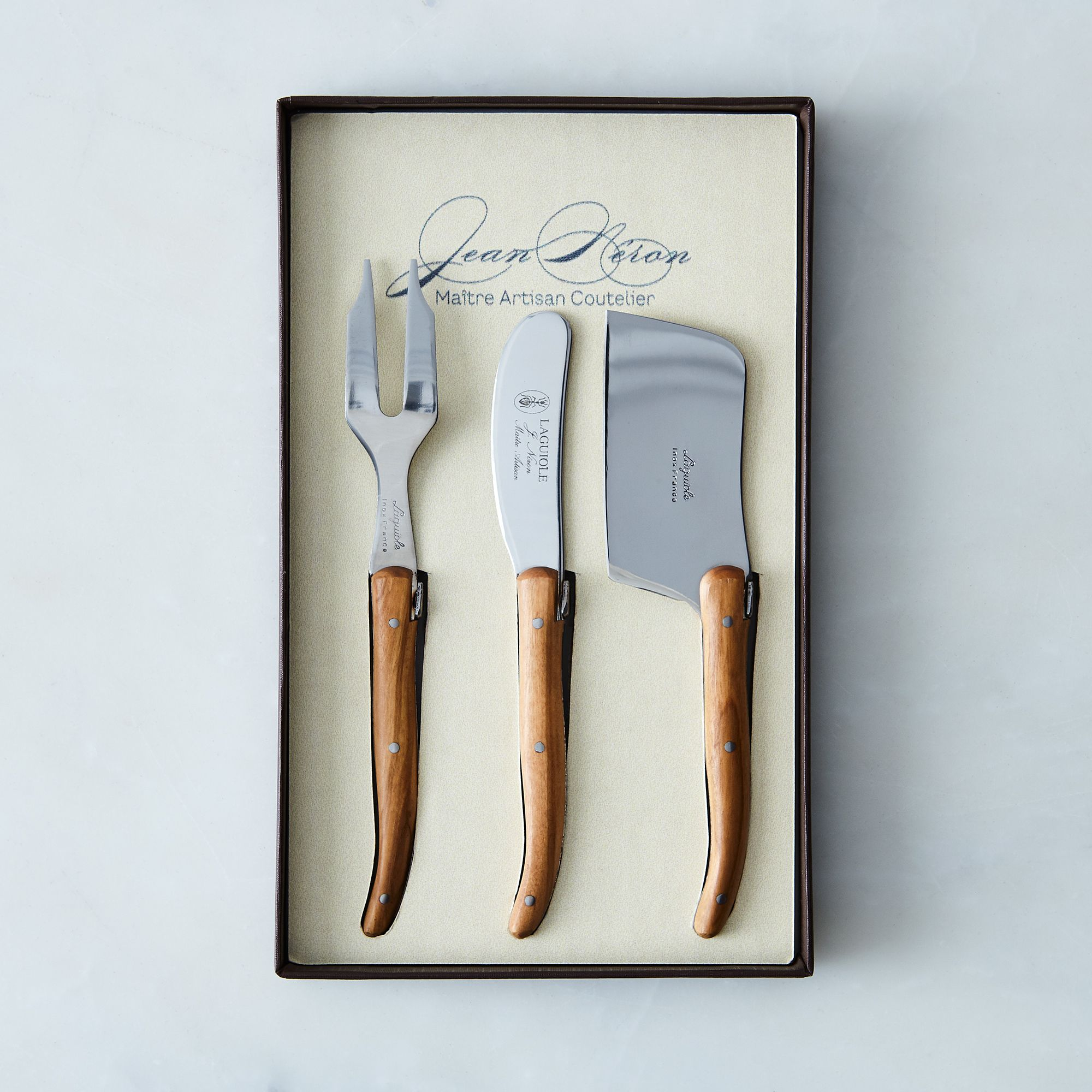Fba4d705 0997 4712 af63 bfdaaa13fd14  2017 0315 kiss that frog olivewood laguiole cheese knives set of 3 silo rocky luten 014