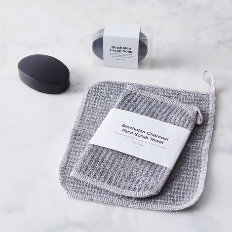 Binchotan Charcoal Facial Soap & Scrub Towel Set