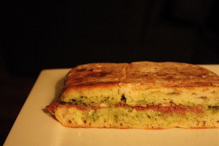 Prosciutto and Fontina Panini with Arugula Pesto Recipe on Food52