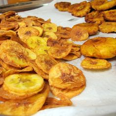 Patacones and Chifles (plantains cut fat and thin)