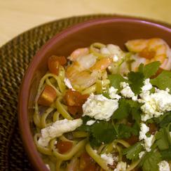 Linguini with Shrimp in a Feta, Cliantro, and Lime Sauce