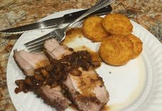 Wild Mushroom and Herb Crusted Pork Loin with a Wine Mushroom Sauce