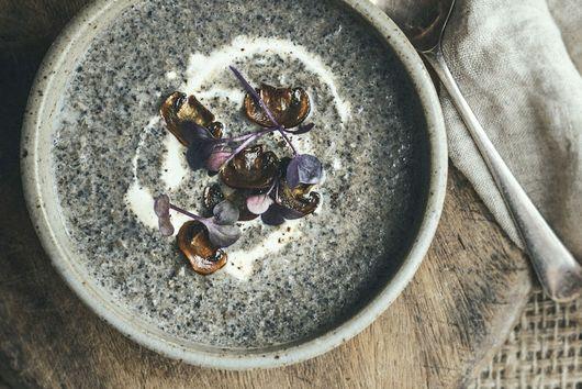 Sunday night Portobello Mushroom Soup with Gruyere Toasties