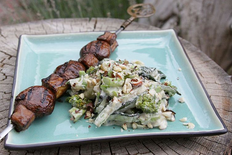 Grilled Zucchini Alfredo with Mushroom and Eggplant Steaks