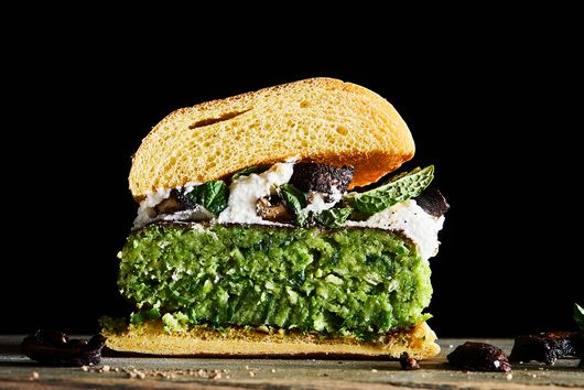 Green Pea Burgers with Ricotta & Crispy Mushrooms