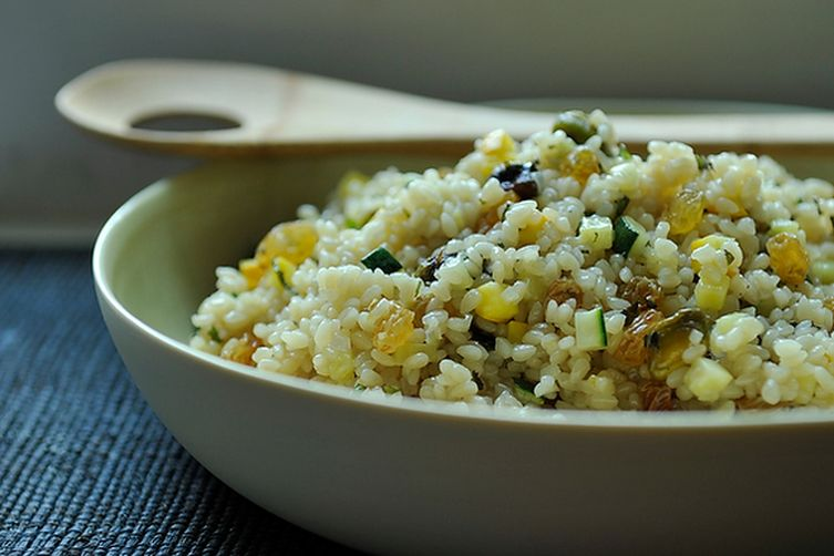 Summer Squash Couscous with Sultanas, Pistachios and Mint Recipe on ...