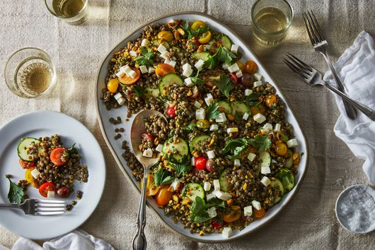 Marinated Lentil Salad with Zucchini and Tomatoes