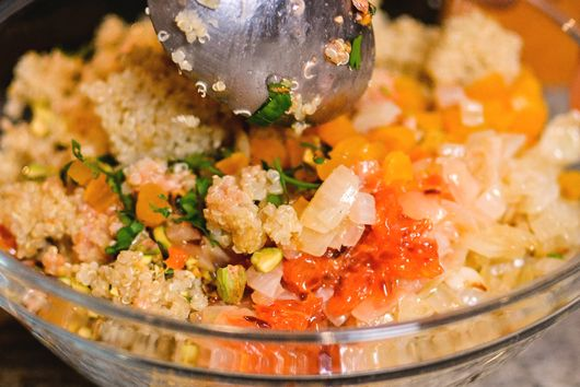 Sprouted Quinoa Salad with Blood Orange Vinaigrette, Apricot and Pistachio