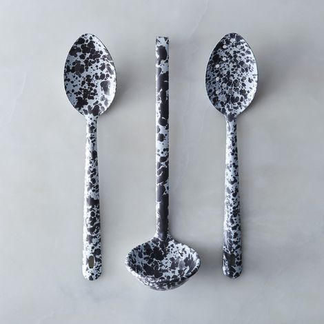 Grey Splatter Enamel Serving Utensils (Set of 3)