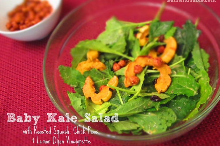 Roasted Squash & Chick Pea Baby Kale Salad with Lemon Dijon Vinaigrette