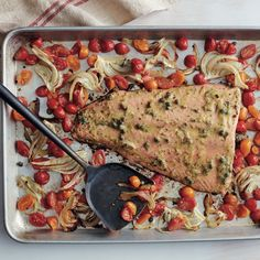 Sheet Pan Roasted Salmon with Tomatoes and Fennel