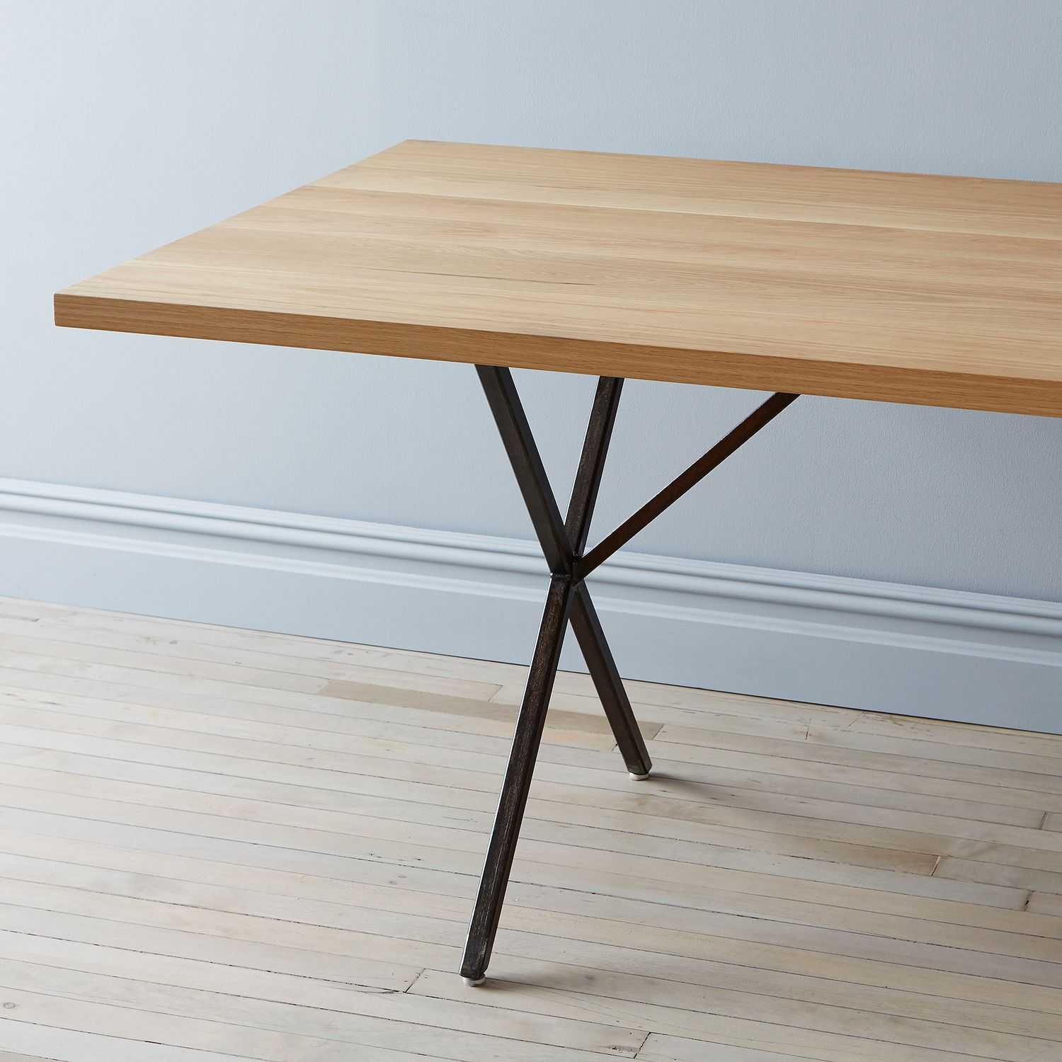 Solid white oak rusted steel farm table bench on food52 for Table induction 71 x 52