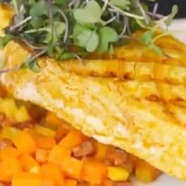 Grilled Swordfish with Chorizo and Root Vegetable Hash