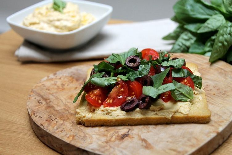 Hummus Tartine with an Olive, Tomato, Lemon & Basil Salsa