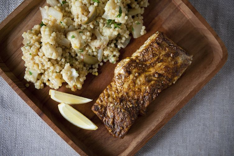 Saffron-scented Vegetable Couscous with North African-spiced Halibut