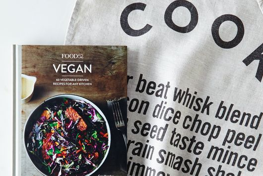 Food52 Signed Vegan Cookbook Wrapped in Cook Tea Towel