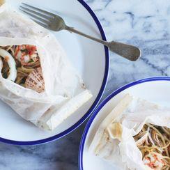 Seafood Spaghetti Baked in Paper (Spaghetti al Cartoccio)