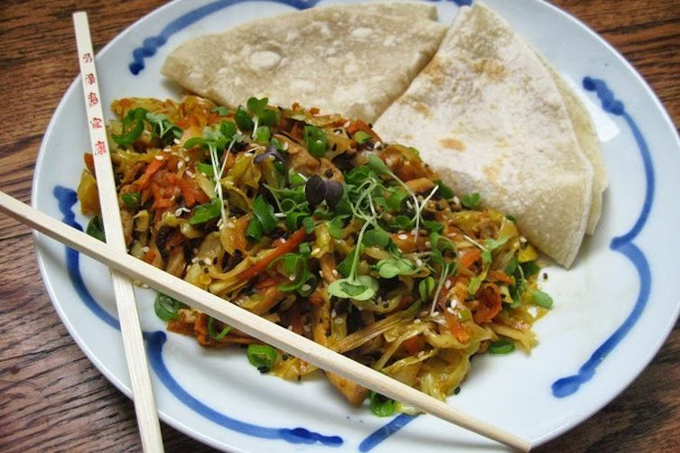 Mu Shu vegetables, vegan but your friends will never know!