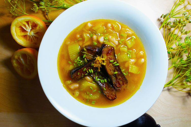 Caramelized Fennel and Lemon Soup with Japanese Eggplant