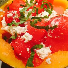 Cold Watermelon, Feta & Basil Soup in a Cantaloupe Cup