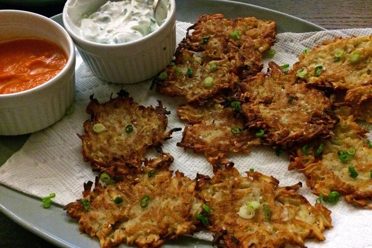 Parsnip and Sunchoke Latkes with Scallion Yogurt and Kimchi Sauce