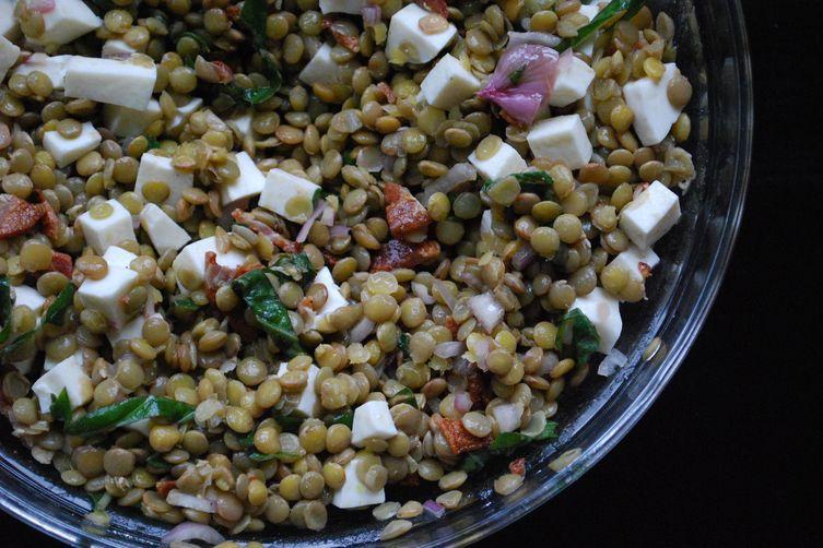 Lentil Salad with Mozzarella and Bacon
