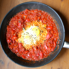 Shakshukeh: Tomato Skillet with Eggs