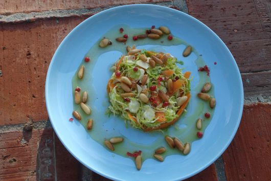 Shredded Raw Brussels Sprouts Salad with Red Peppercorns and Honey Mustard Vinaigrette