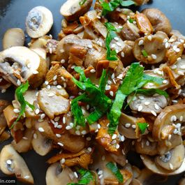 Sesame & White Wine Sautéed Mushrooms