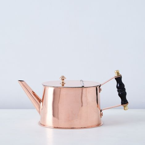 Vintage Copper Teapot with Ebony Handle, Mid 19th Century