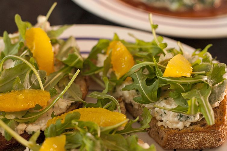 Grilled Bruschetta - Cannellini Beans with Feta, Arugula, and Orange