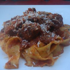 Chunky Beef and Pork in Tomato Sauce