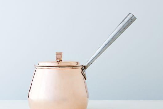 Vintage Copper English Pot-Bellied Saucepan, Mid 19th Century