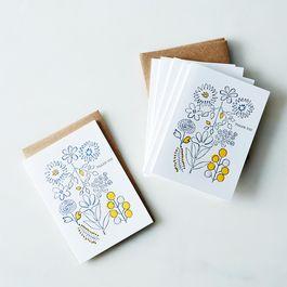 Flower Thank You Letterpress Cards (Set of 6)