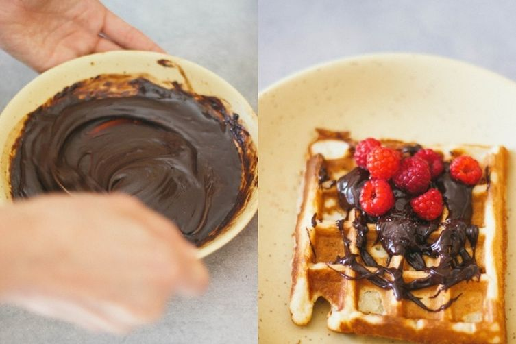 Vegan waffles with chocolate sea salt ganache
