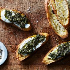Ricotta Crostini with Kale Pesto